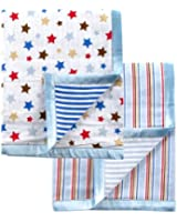 Luvable Friends 2 Count Flannel Blanket with Satin Trim, Blue