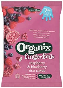 Organix Stage 2 From 7 Months Finger Foods Organic Raspberry and Blueberry Rice Cakes 50 g (Pack of 7)
