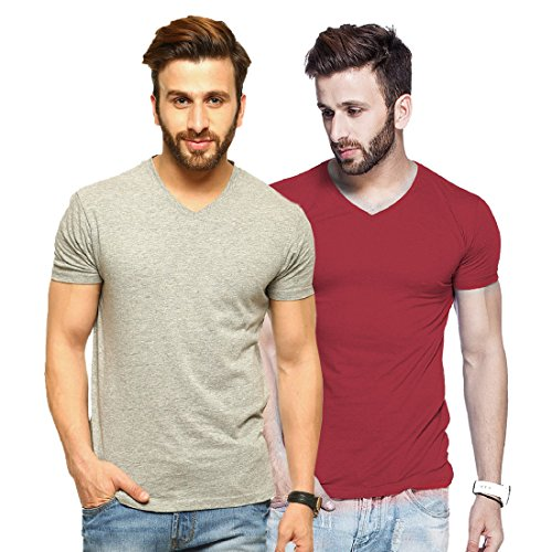 Tripr Men's V-Neck Tshirt Combo Grey Maroon (Medium)  available at amazon for Rs.399