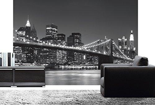 Carta da parati fotografica, Nighttime Manhattan 366 x 254 cm, in bianco e nero, New York Skyline