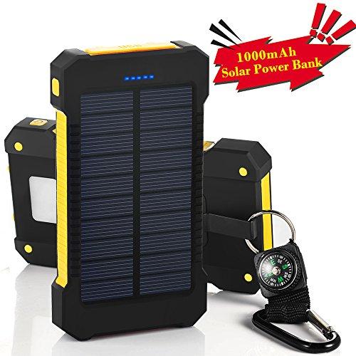 BEST 10000mAh大容量ソーラーパネル、モバイルバッテリー、二つの充電方法旅行、キャンプの必須の良品 iPhone / iPad / iPod / Xperia / Galaxy / Nexus等 (ブラック&イエロー)