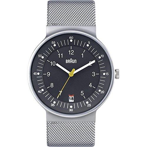 Braun Men's 42mm Grey Steel Bracelet & Case Quartz Analog Watch BN0082GYSLMHG