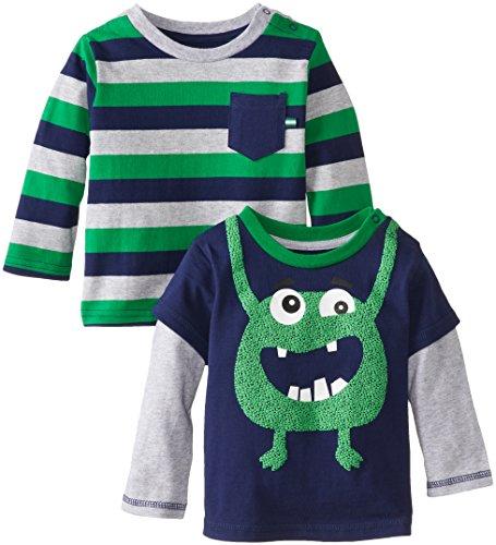 Little Me Baby-Boys Infant Monster 2 Pack Tops, Navy Multi, 12 Months front-944139