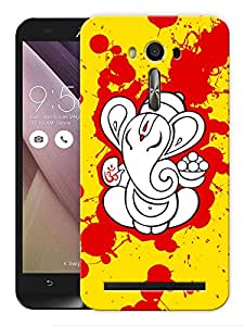 "Humor Gang Ganesha Splatter Art Printed Designer Mobile Back Cover For ""Asus Zenfone 2"" (3D, Matte, Premium Quality Snap On Case)"