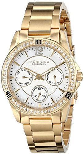 Stuhrling Original Women's 914.02 Marina Quartz Multifunction Swarovski Crystal Gold Tone Watch