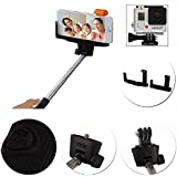 Selfie Stick -Professional 2-in-1 Bluetooth Wireless Extendable Self-Portrait Monopod with Adjustable Grip. Comes with Gopro and Camera Adapters, Perfect for GoPro 1,2 3,4