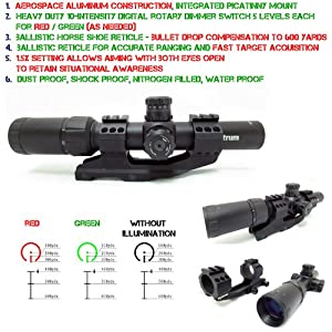 Monstrum 2 in 1 Scope Combo: Special Ops Edition 1.5-4x24 Tactical Scope + 30mm Cantilever Dual Ring Mount