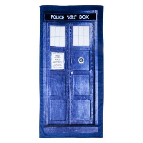 Doctor Who TARDIS Door Cotton Beach or Bath Towel (59 long x 29 1/2 wide) by Doctor Who