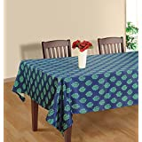 Handmade Blue And Aqua Flower Square Tablecloth - 60 X 60 Inch Polysateen Table Cloth Cover For 4 Seater Tables...