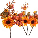 Set of 4 Rustic Autumn Sunflowers with Fall Leaves and Berries Stems