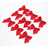 Red Christmas Tree Bow Decoration (pack Of 12) Christmas Tree Ornament,Chritmas Decoration