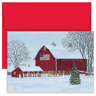 American Barn Boxed Christmas Cards and Envelopes