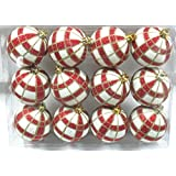 Queens Of Christmas WL-ORN-12PK-PLD-RE 12 Pack Ball Ornament With Red And Gold Plaid Design, White