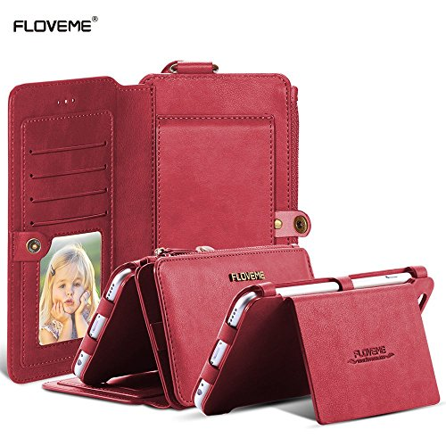 For Samsung Galaxy Note 5 Case, FLOVEME Vintage 2 in 1 Zipper Magnetic Wallet Leather 18 Card Slots Holder Handbag 360 Degree Full Protection Flip Pouch Kickstand Cover - Red (Note 2 Case White compare prices)