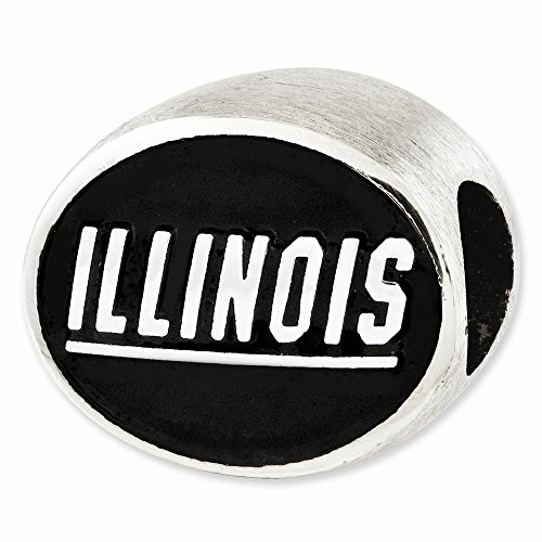 Sterling Silver Antiqued University of Illinois Collegiate Bead