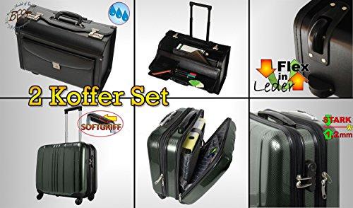 2-Stck-PREMIUM-XXL-wetterfester-Koffer-Pilotenkoffer-Businesskoffer-ROBUST-Daypack-Packtasche-NEU-schwarz-Lederimitat-1x-Hartschalen-Trolley-silber-mit-2-Rollen-extrem-robust-Hardcase-Koffer-standfest