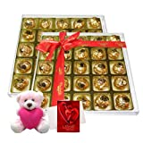 Exquisite Selection Of Chocolates With Teddy And Love Card - Chocholik Luxury Chocolates