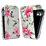 Accessory Master Leather Case for Samsung Galaxy S5300 Pocket Pink / White Flower Design