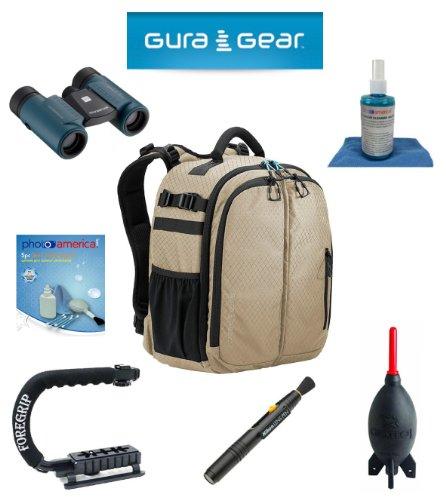 Gura Gear Bataflae 18L Backpack (Tan) + Foregrip + Nikon Lens Pen Cleaning System + Giotto'S Air Blower + Cleaning Kit + Olympus Waterproof Binoculars