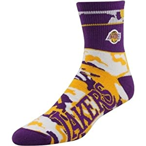Los Angeles Lakers NBA Basketball Camo Ankle Crew Socks Size Large by For Bare Feet