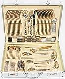 84 tlg. LUXUS Edelstahl Besteck Besteckset mit Besteckkoffer 12 Personen - 1244