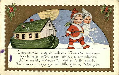 This Is The Night When Santa Comes With His Big Bag Of Sugar Plums Original Vintage Postcard