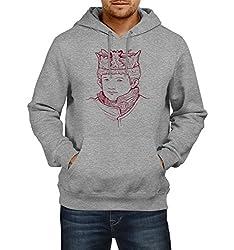 Fanideaz Men's Cotton Joffrey Baratheon Handrawn Art Game Of Thrones Hoodies For Men (Premium Sweatshirt)_Grey Melange_M