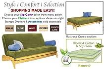 Big Sale THE FUTON SHOP DILLON MAPLE FULL CHOCOLATE WALL HUGGER SOFA BED / LOVE SEAT SETS