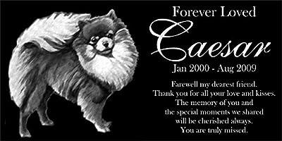 "Personalized Pomeranian Pet Memorial 12""x6"" Engraved Black Granite Grave Marker Head Stone Plaque CAE1"