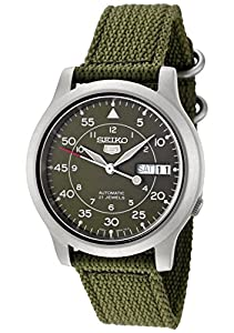 Seiko Men's SNK805 Seiko 5 Automatic Green Canvas Strap Casual Watch