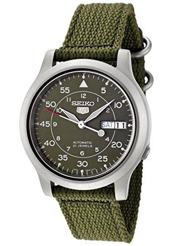 Seiko Men's SNK805 Seiko 5 Automatic Green Canvas Strap Casual Watch