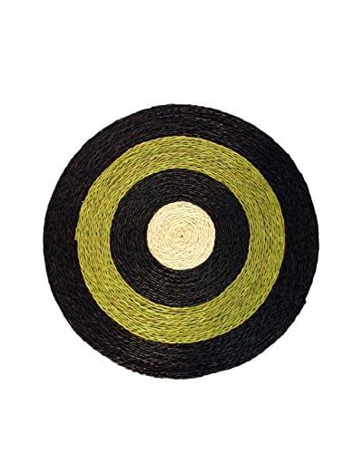 Asian Loft Hand-Woven Grass Wicker Round Mat, Green/Black/White