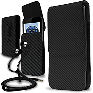 iTALKonline Samsung Galaxy J2 SM-J200F Carbon Fibre / Fiber Black PREMIUM PU Leather Vertical Executive Side Pouch Case Cover Holster with Belt Loop Clip and Magnetic Closure