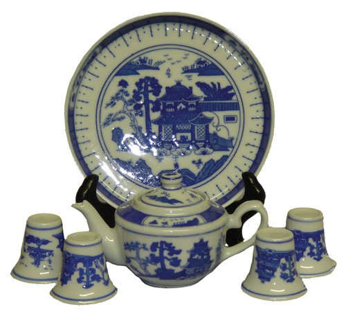 Oriental Blue Canton Miniature Tea Set - Porcelain