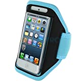 """myLife (TM) Sky Blue + Black Velcro Strap (Light Weight Flexible Neoprene + Secure Running Armband) for Apple iPhone 5C 5S and 5 (5G) 5th Generation iTouch Phone (Universal One Size Fits All + Velcro Secured + Adjustable Length + PU Leather Trim + All Top Ports and Headphone Jack Accessible + Water Resistant + Min 10.2"""" Max: 17.3"""")"""
