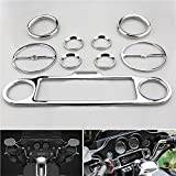 Shinehome® 9 PC Chrome Stereo Accent Speedometer Speaker Trim Ring Set for Harley Ultra Classic