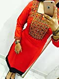Kesu-Fahion-Womens-Embroidered-semi-stitched-Selfie-Kurti-In-Georgette-Fabric-KUKRT1009Free-SizeLight-Red
