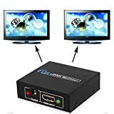 Prosteruk 2 Port HDMI Splitter Amplifier Adapter Box - 1 Input 2 Output High Performing Active Amplifier 1080P Full HD Display for HDMI Devices Blue Ray DVD Player Sky Box PS3 Xbox360 etc