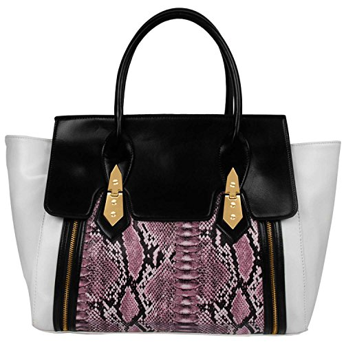 fash-limited-front-flap-tote-handbag-snake-skin-texture-pu-leather-handbag-white