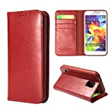 Moon Monkey Luxury Business Genuine Leather Stand Function Folio Case for Samsung Galaxy S5 with Built-in Card Slot (Red)