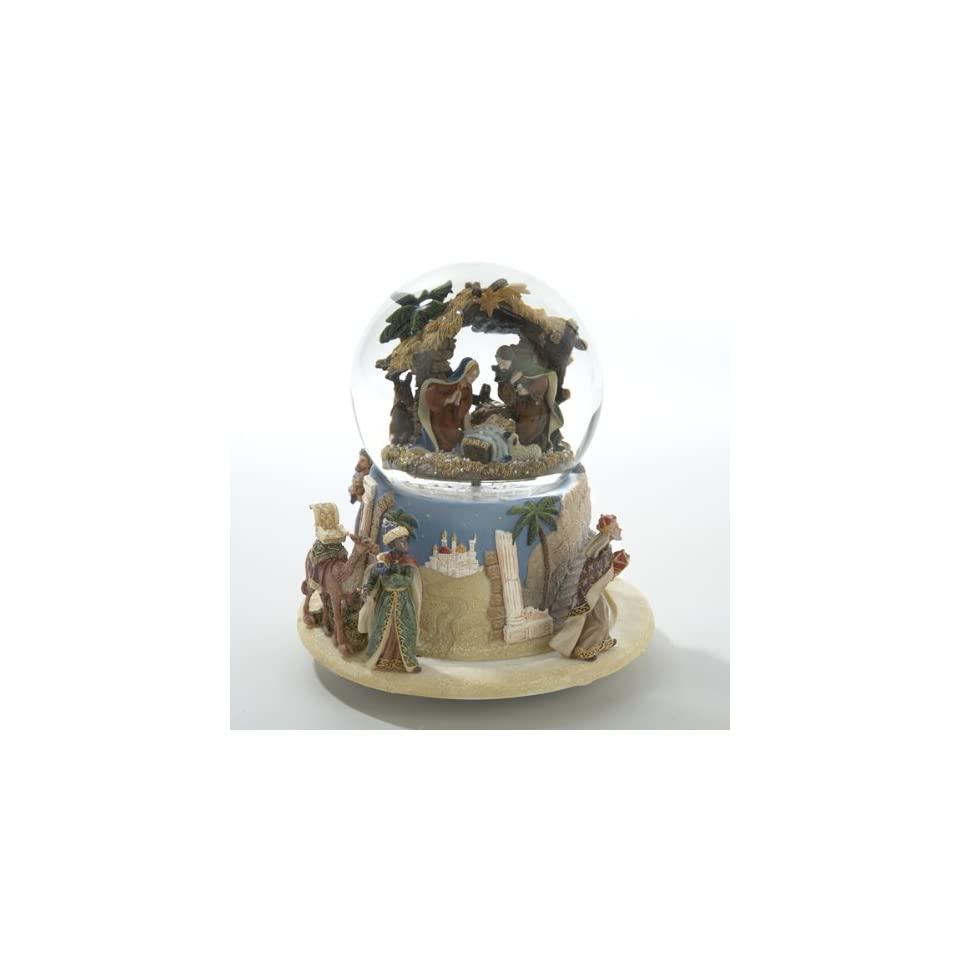 4 Religious Holy Family Nativity Scene Musical Christmas Glitterdome Snow Globe