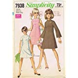 Simplicity 7938 Vintage Sewing Pattern Womens Scalloped Dress Size 11 Bust 33 1/2