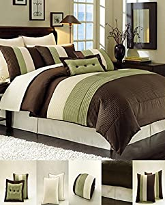 8 Piece Luxury Bedding Regatta comforter set Sage Green / Brown / Beige Queen Size Bedding 94