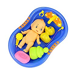 Imported Blue Plastic Bathtub with Baby Doll Bath Toy Set