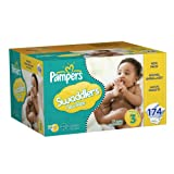 Pampers Swaddlers Size 3 Diapers Economy Plus Pack, 174 Count (Packaging May Vary)