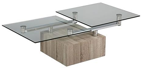 Table basse verre socle bois carré, L.1300 X l.650 X Ht.400 mm -PEGANE-
