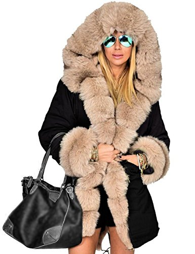 ZEARO-Femmes-hiver-Longue-chaude-Parka-pais-fourrure-veste-manteau--capuchon