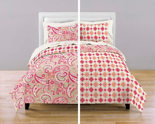 Vintage Spring Fling Reversible Paisley Diamonds Comforter Bedding Set Pink