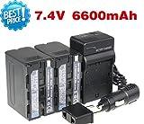 NP-F970 MU NP F970 NPF970 Li-ion 6600mAh caméra Batterie + Chargeur + chargeur de voiture 2pcs Pour Sony NP-F960 NP-F950 NP-F930 (4pcs / 1lot)...