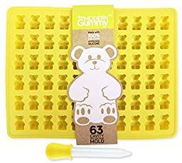 63 Cavity PURE LFGB SILICONE Gummy Bear Mold by The Modern Gummy + Dropper + Recipe PDF | No Plastic Fillers, BPA, or Chemical Coatings; Fruit Snack Candy, Chocolate Making, Soap & Ice Cube Tray